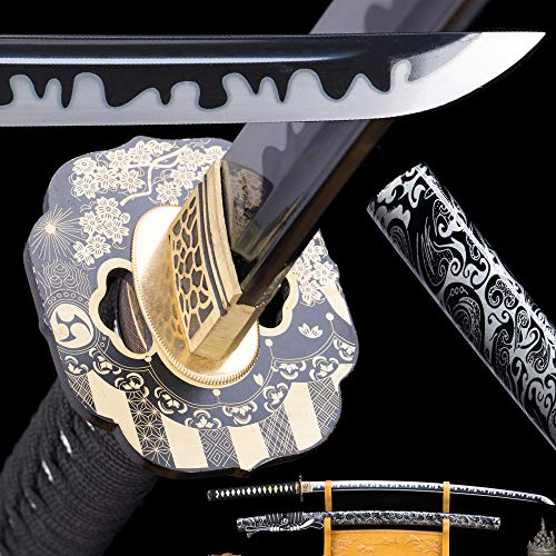 1095Red/Golden/Blue High Carbon Steel,Handmade Sword Japanese Samurai Katana, Functional, Hand Forged, Heat Tempered, Full Tang, Sharp,Battle Ready,Wooden Scabbard,Sharp Knife