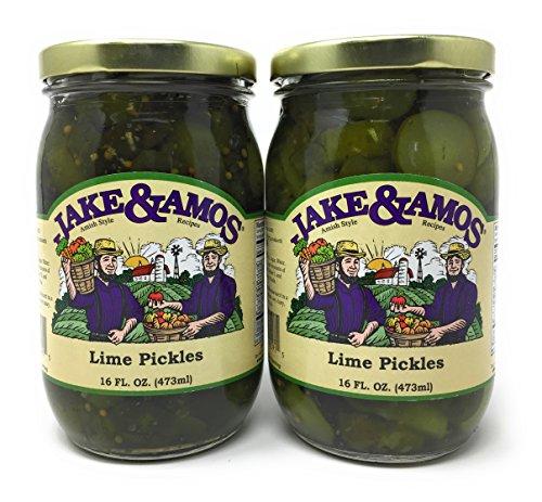 Jake & Amos - Lime Pickles / 2 - 16 Oz. Jars (Amos Pickles Jake &)