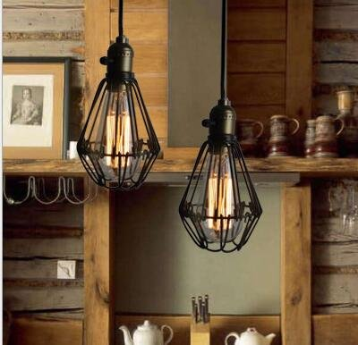 STGLIGHTING 1-Light H-Type Track Light Pendants 4.9 Feet Cord Iron Birdcage Lampshade Restaurant Chandelier Decorative Chandelier Industrial Factory Pendant Lamp Bulb Not Included by STGLIGHTING (Image #3)