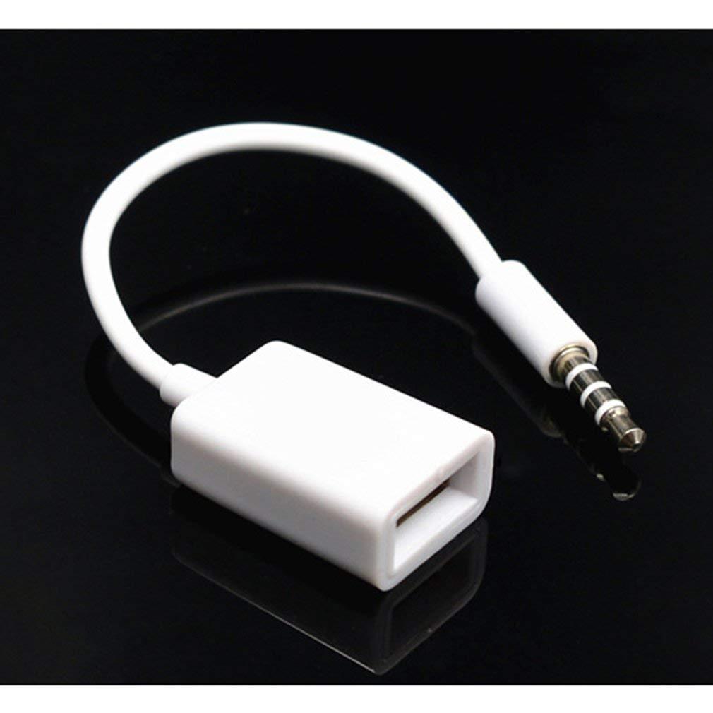 Leoboone AUX a 3,5 mm USB Macho Aux Audio Enchufe de Gato a USB 2.0 Hembra convertidor de Cable Cable de convertidor de Cable único Coche Puerto AUX