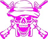 Army Ranger Skull with Guns Vinyl Decal Sticker for Window ~Car ~ Truck~ Boat~ Laptop~ iPhone~ Wall~ Motorcycle~ Helmets~ Gaming Console~ Size 19.71' X 16' NEON Pink
