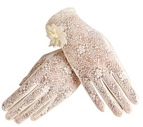 Women's Summer Screentouch Gloves Lace Anti-skid Outdoor Driving Gloves, Beige ()
