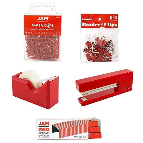 JAM PAPER Office Starter Kit - Red - Stapler, Tape Dispenser, Staples, Paper Clips & Binder Clips - 5/Pack