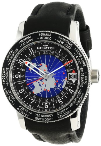 Fortis Men's 674.21.11 L.01 B-47 World Timer Gmt Swiss Automatic Bidirectional Bezel GMT Date Watch