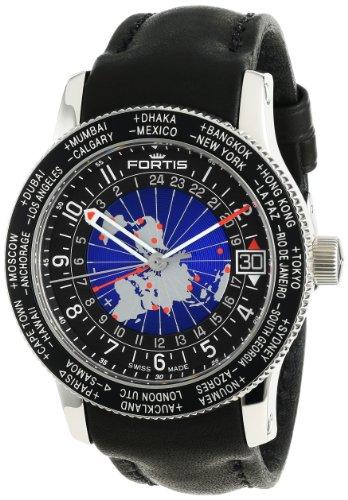 Fortis Men's 674.21.11 L.01 B-47 World Timer GMT Swiss Automatic Bidirectional Bezel GMT Date Watch
