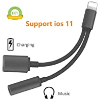2 in 1 Lightening Adapter,Yakoye Phone X Splitter Lightening Charger and 3.5mm Earphones Jack Cable for Phone 7 8 Plus XR XS (Black)