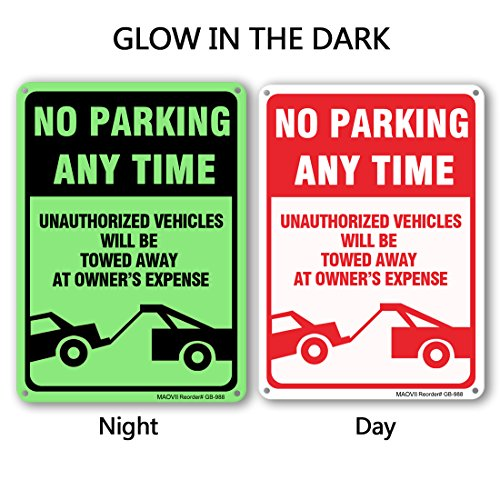 MAOVII No Parking Sign - Violators Will Be Towed Away At Vehicle Owners Expense Legend Sign, Aluminum, 14