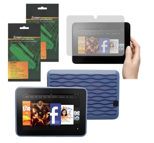 iShoppingdeals - Light Blue TPU Rubber Skin Cover Case and Matte Screen Protector for Amazon Kindle Fire HD 7' (Model 2012 Only)