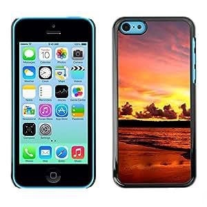 TopCaseStore / la caja del caucho duro de la cubierta de protección de la piel - Sunset Sea Beautiful Nature 17 - Apple iPhone 5C