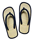 USA STEP Women's Big Girls' Handmade Fashion Indoor Outdoor Home Spa Hotel Solid Dark Blue Straw Seagrass Summer Flip Flops Sandals Slippers Thong