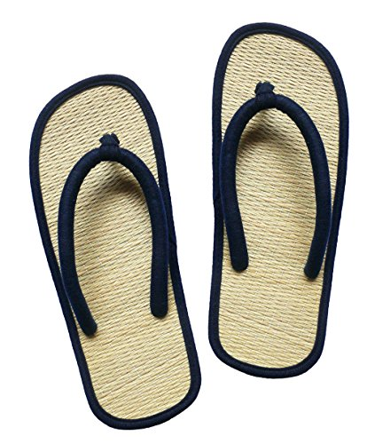 Bamboo Flip Flops Thong Sandals - USA STEP Women's Big Girls' Handmade Fashion Indoor Outdoor Home Spa Hotel Solid Dark Blue Straw Summer Flip Flops Sandals Slippers Thong