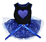Petitebella Blue Heart Black Cotton Top Royal Blue Sequins Puppy Dog Dress (XX-Large) For Sale