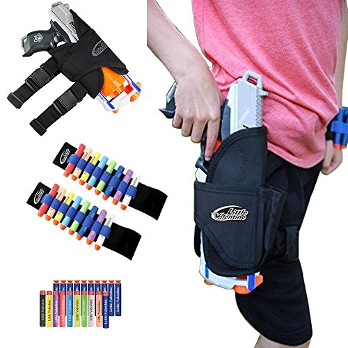 Little Valentine Kids Tactical Waist-bag and 2 Darts Wristers with 10 Blue Suction Darts and 10 Darts for Nerf N-strike...