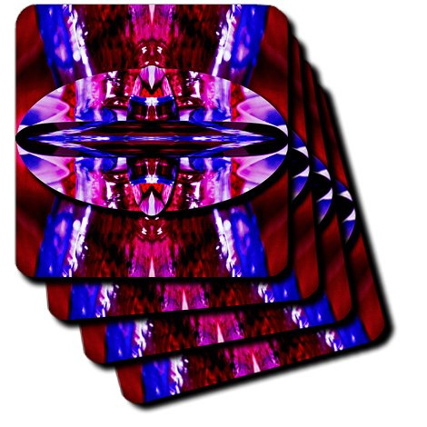 3dRose cst_56494_2 Yarn and a Water Bottle Manipulated with Maroon and Blue Background Soft Coasters, Set of 8