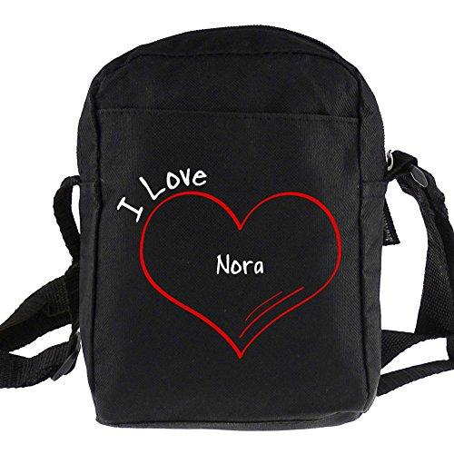 Umhängetasche Modern I Love Nora schwarz