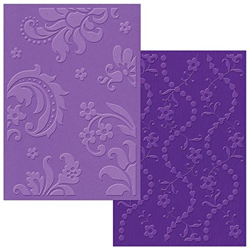Sizzix Textured Impressions A6 Embossing Folders, Damask and Beaded Floral Stripe, 2/Pack