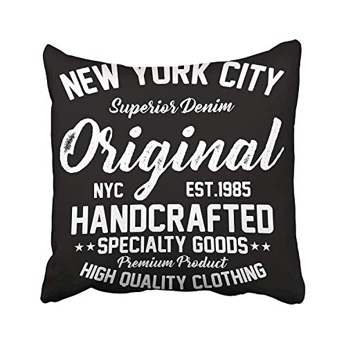 Rdsfhsp Blue College New York City Superior Denim Premium Product Original Graphics Luxury NYC Vintage Authentic Throw Pillow Covers for Decorating Sofa Car Bedroom Etc Or Gifts Cotton 18x18 -