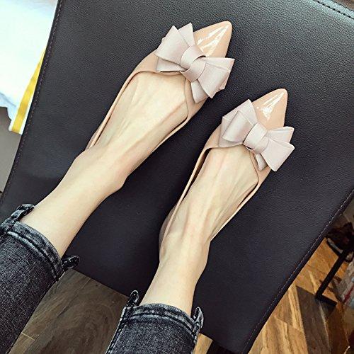 HBDLH Di Cresciuto Matrimonio La donna Superficiale Primavera A Fondo Tipo Apricot Piatto Scarpe Di color Lacca Scarpe da Cuoio Scarpe Scarpa Sola A Prua Da Donna Di Le PwqzxtCrnP