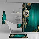 iPrint Bathroom 4 Piece Set Shower Curtain Floor mat Bath Towel 3D Print,Keys and Chains with Steampunk Influences,Fashion Personality Customization adds Color to Your Bathroom.