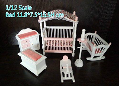 1:12 scale dollhouse miniature bedroom baby room set nursery room furniture set cradle crib hobby (Nursery Bedroom Sets)