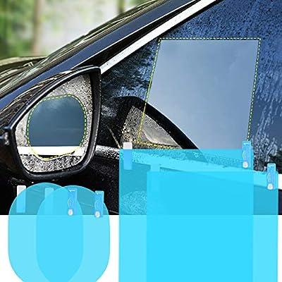 Car Rearview Mirror Film 4Pcs Car Side View Mirror Anti Glare Film Nano Films Anti Fog Rainproof Waterproof Membrane Protector for Car Rear View Mirrors Side Windows(2pcs Oval & 2pcs Rectangular): Automotive