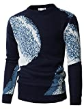 H2H Men's Big & Tall Knit Crewneck Sweater With Snowflake Patterned Navy US M/Asia L (KMOSWL0223)