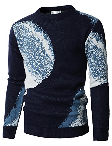 H2H Men's Big & Tall Knit Crewneck Sweater With Snowflake Patterned Navy US M/Asia L - Sweater Knit Crewneck