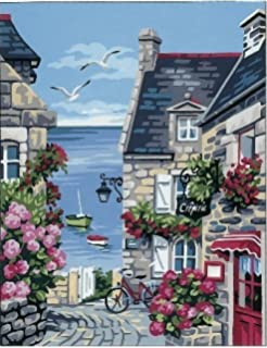 Honfleur Harbour Front SEG de Paris Tapestry//Needlepoint Canvas