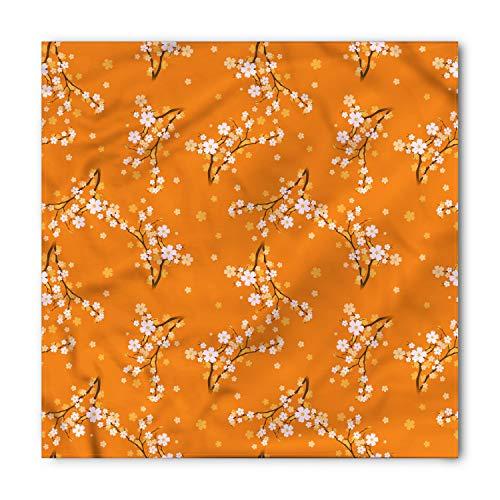 - Ambesonne Unisex Bandana, Floral Cherry Tree Blossoms, Orange White
