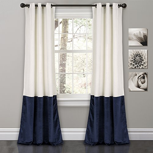 Lush Decor Prima Velvet Curtains Color Block Room Darkening Window Panel Set for Living, Dining, Bedroom (Pair), 84