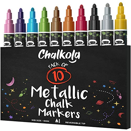 Metallic Chalk Markers - Pack of 10 Liquid Chalk Pens - for Chalkboard, Blackboard, Cafe Menu, Business, Window - Wet Wipe Erasable - 6mm Reversible Bullet & Chisel Tip]()