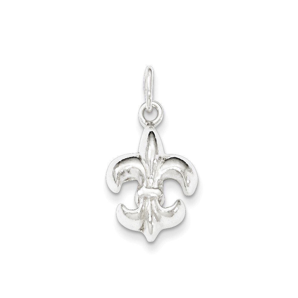 16-20 Mireval Sterling Silver Polished Fleur De Lis Charm on a Sterling Silver Chain Necklace