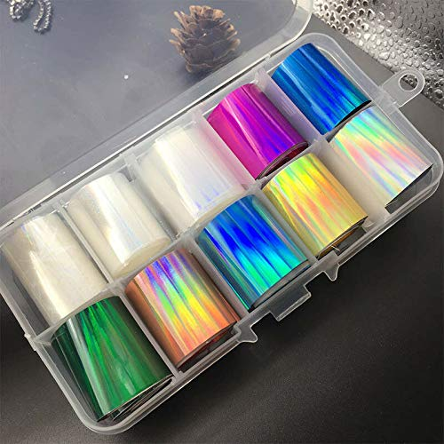 10 Reels/Box Holographic Nail Foil AB Color Transfer Sticker Nail Art Decals DIY (Color - 4)