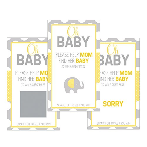 Set of 12 Scratch Off Game Cards for Baby Shower Games Oh Baby Yellow Gray Dots SC151