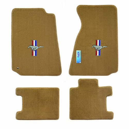 Fits 1994 2004 Ford Mustang 4pc Tan Parchment Floor Mats Pony And Tribar Logo