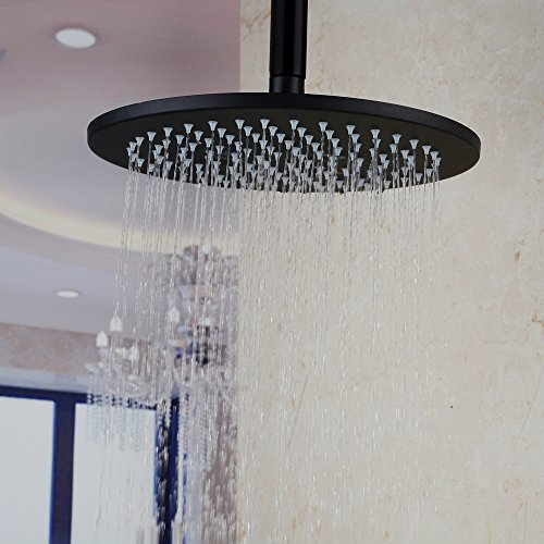 Hiendure 12 Inch Ceiling Mount Stainless Steel Round Rainfall Shower Head, Oil Rubbed Bronze