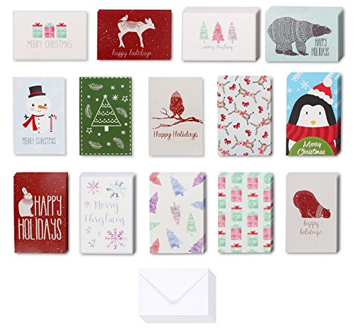 36-Pack Merry Christmas Greeting Cards Bulk Box Set - 14 Design Assorted Winter Holiday Xmas Kraft Greeting Cards Envelopes Included, 4 x 6 (Holiday Greeting Envelope)