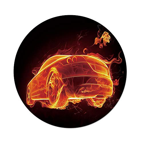 iPrint Polyester Round Tablecloth,Cars,Automobile in Flames Burning Hot Modern Car Fire Creative Concept Design Decorative,Orange Red Black,Dining Room Kitchen Picnic Table Cloth Cover Outdoor Indoo