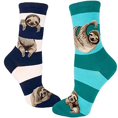Modsocks Women'S Sloth Stripe Crew Socks (Fits Most Women Shoe Size 6-10) - 75, Hundredths-Inches, 800, Hundredths-Inches, 9, Hundredths Pounds, 400, Hundredths-Inches