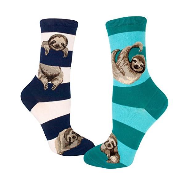 Modsocks Women'S Sloth Stripe Crew Socks (Fits Most Women Shoe Size 6-10) -