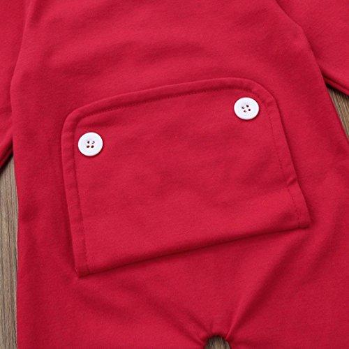 Omiky® Weihnachten Kleinkind Neugeborene Baby Jungen Mädchen Spielanzug Jumpsuit Outfits Kleidung Rot