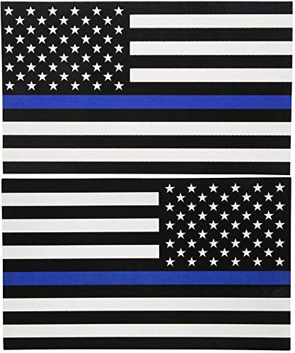 Sticker American Flag Subdued Thin Blue Line (Left-Right) USA Military Rock Metal Heavy Decal Laptop Car Window Door Wall Motorcycle Helmet Set size 3
