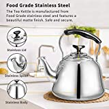2 Liter DLD Polished Mirror-Finish Stainless Steel Whistling Capsule Base Stovetop Teakettle Tea Kettle Teapot, Gas Electric Induction Compatible