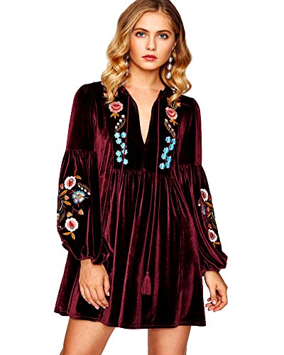 Wine Vintage Red Aofur Mini Embroidered Spring Shift Women Sleeve Dress Bohemian Blouse Long Velvet Casual Tops ECCA6qw