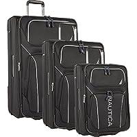 Nautica Airdale 3 Piece Expandable Luggage Set (Black)
