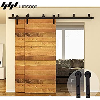 Amazon Com Winsoon Bypass Sliding Barn Wood Door Hardware Interior Sliding Closet Door Bracket Black Rustic Sliding Track Kit 7 5ft Bypass Kit