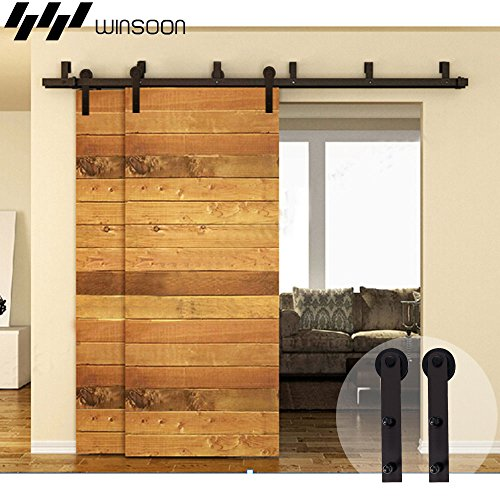 (WINSOON Bypass Sliding Barn Wood Door Hardware Interior Sliding Closet Door Bracket Black Rustic Sliding Track Kit (7.5FT Bypass Kit))