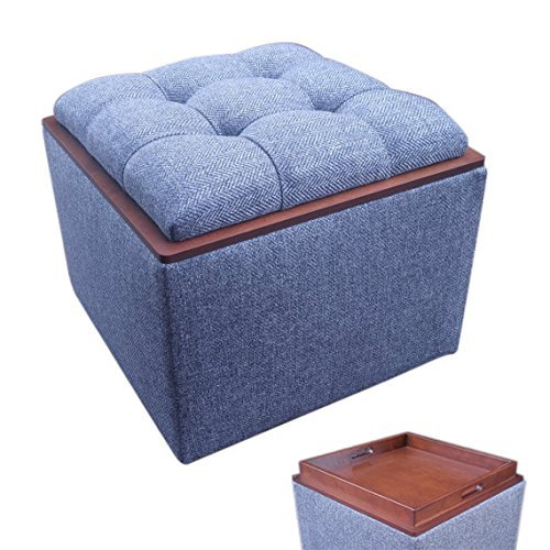 Remarkable Tufted Storage Ottoman With Hardwood Flip Over Tray Stainproof Herringbone Tweed Alphanode Cool Chair Designs And Ideas Alphanodeonline