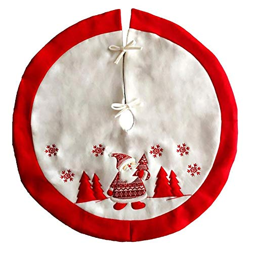 Aooki Red Christmas Tree Skirt Santa Claus Snowflake Patterns Xmas Tree Cover Base Aprons Festive New Year Party Supplies Decor,White ()