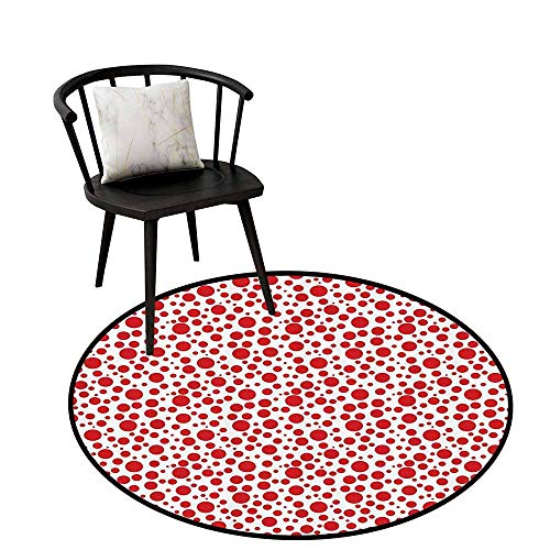 - Absorbent Round Rug Abstract Will not Touch The Floor Directly Red Polka Dots on White Background Bubble Like Design Modern Pattern Print Vermilion White D31(80cm)